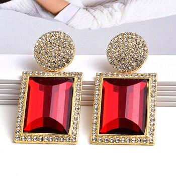 Colorful Crystal Geometric Metal High-Quality Stone Earrings  4