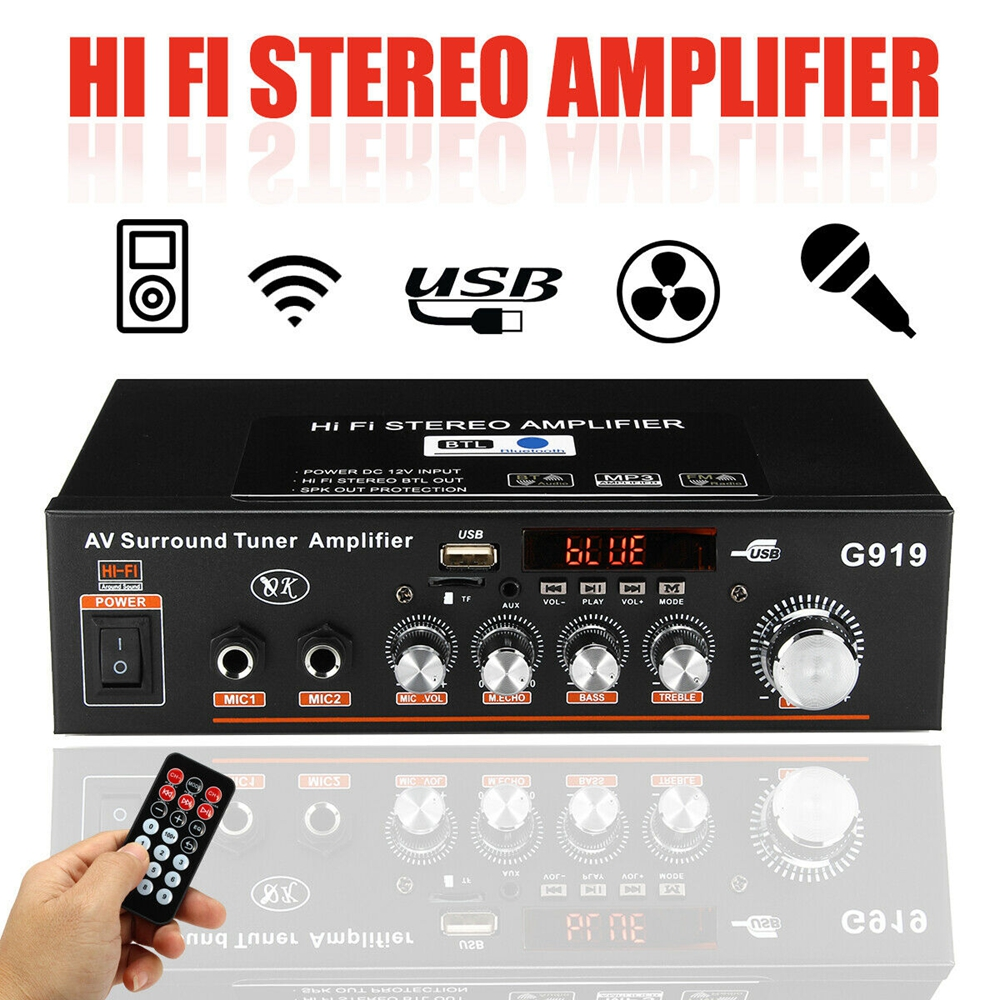 12V/220V/110V 360W Bluetooth Stereo Mini Amplificador Audio Power Amplifier FM SD HIFI 2CH AMP Audio Music Player For Car Home