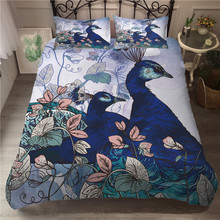 A Bedding Set 3D Printed Duvet Cover Bed Peacock Home Textiles for Adults Bedclothes with Pillowcase #KQ01