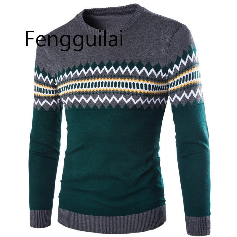 2020 Classic Sweater New Autumn Winter Round Neck Pullover Men Slim Fit Knitted Sweater Pull Homme Jersey Hombre Mens Sweaters F
