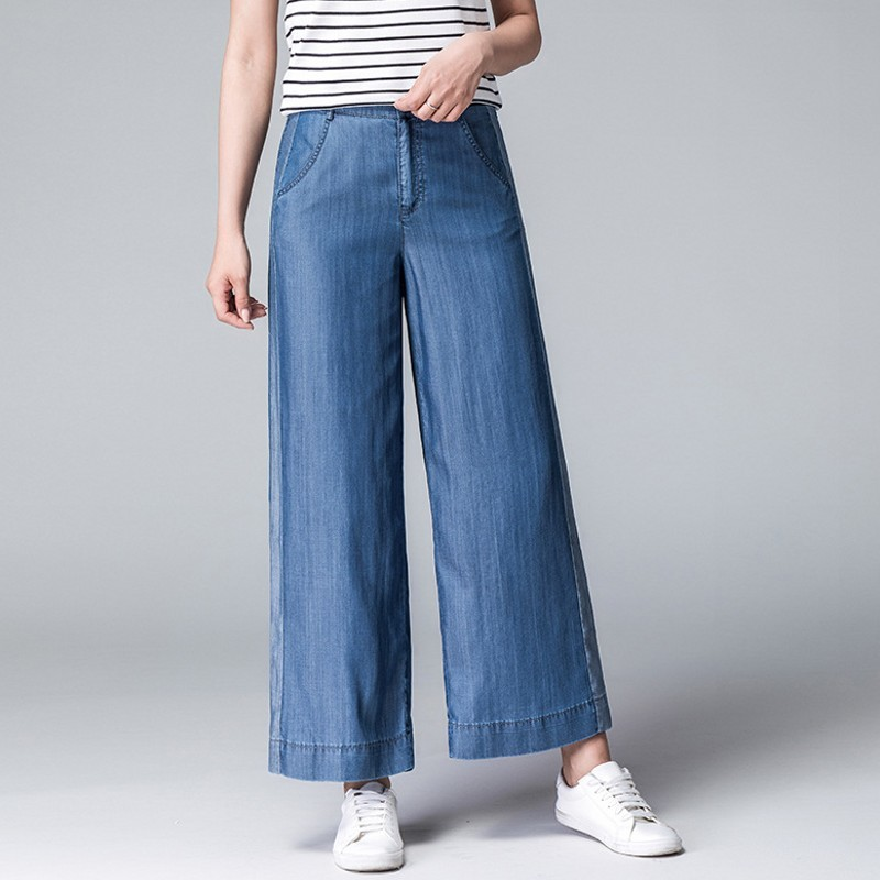 Women Loose Fit Trousers Blue Fashion Patchwork Denim Wide Leg Pants Casual Zipper High Waist Jeans Mujer Ankle Length Pantalon