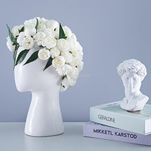 Nuevo modelo De Jarron de Ceramica Con Cabeza Humana Arreglo Creativo Retrato Floral De Agujero Redondo Adornos Decorativos