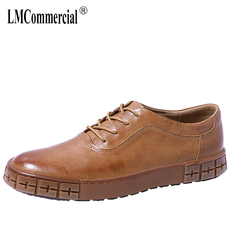 breathable mens casual Genuine Leather shoes designer shoes men high quality British retro all-match cowhide spring and autumn