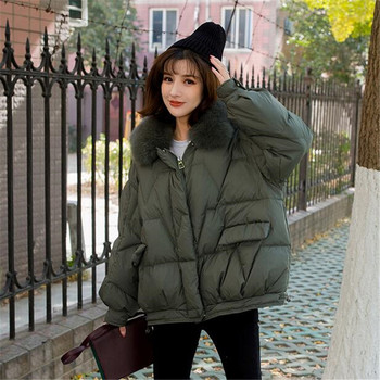 Fox 2020 Fur Real White Duck Jacket Female Thick Warm Good Quality Winter Coat Women Loose Down Parka image