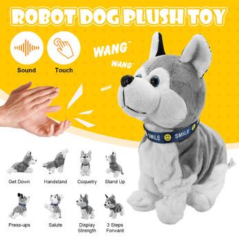 Kontrola dźwięku elektroniczna interaktywna zabawka dla psów Robot szczeniaki kora stojak spacer 8 ruchów pluszowe zabawki na prezenty dla dzieci tanie i dobre opinie LISHEN CN (pochodzenie) 2-4 lat Electronic Robot Dog Plush Toy 4 x AA Batteries Unisex Zasilanie bateryjne SOFT Edukacyjne