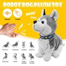 Kontrola dźwięku elektroniczna interaktywna zabawka dla psów Robot szczeniaki kora stojak spacer 8 ruchów pluszowe zabawki na prezenty dla dzieci
