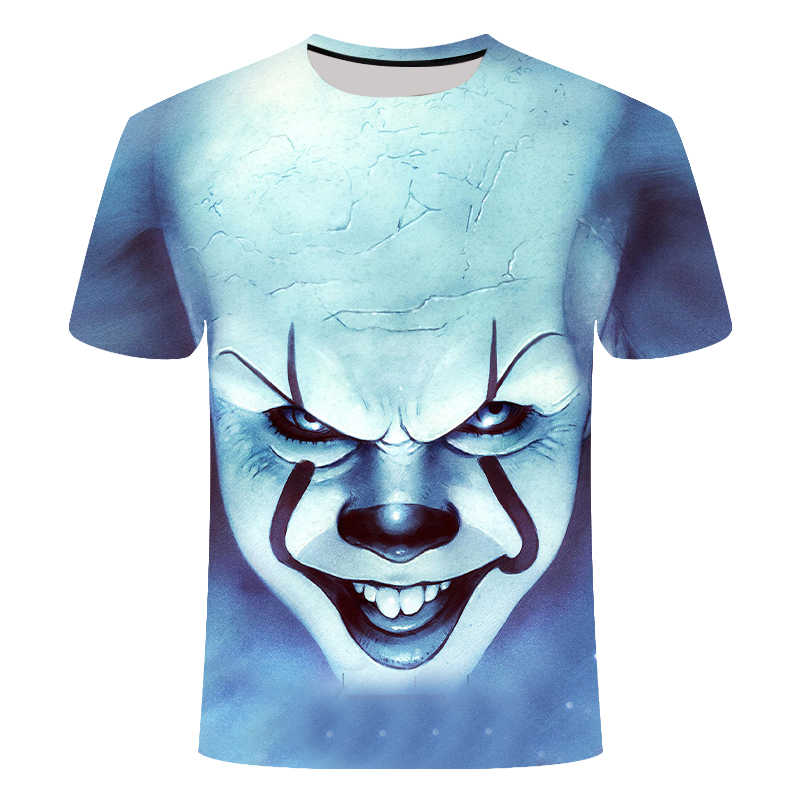 Film Horor Ini Penny Wise Badut Joker 3D Cetak Kaos Pria/Wanita Hip Hop Streetwear Tee T Shirt 90 S Anak Laki-laki Pakaian Keren Pria Atasan