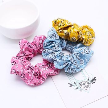 Women Women Girls Ruched Pleated Large Intestine Hair Rope Bohemian Ethnic Retro Paisley Floral Printed Ponytail Holder Bandanna image