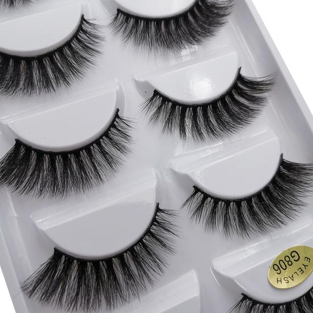 5 Pairs Multipack 3D Mink Lashes False Eyelashes Handmade Wispy Fluffy Long Lashes Natural Eye Makeup Tools Faux Eye Lashes G800 4