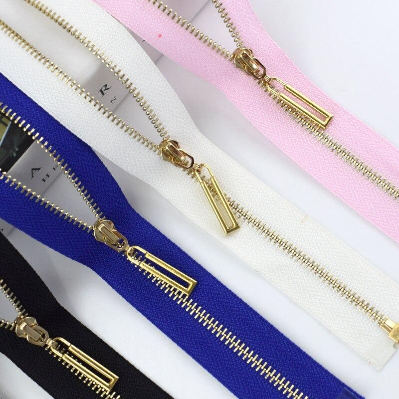 Meetee 2/5 pces 40-70cm open-end 3 # zíper de metal colorido fecho de correr de ouro saco diy acessórios de costura de vestuário zíperes de ouro azul