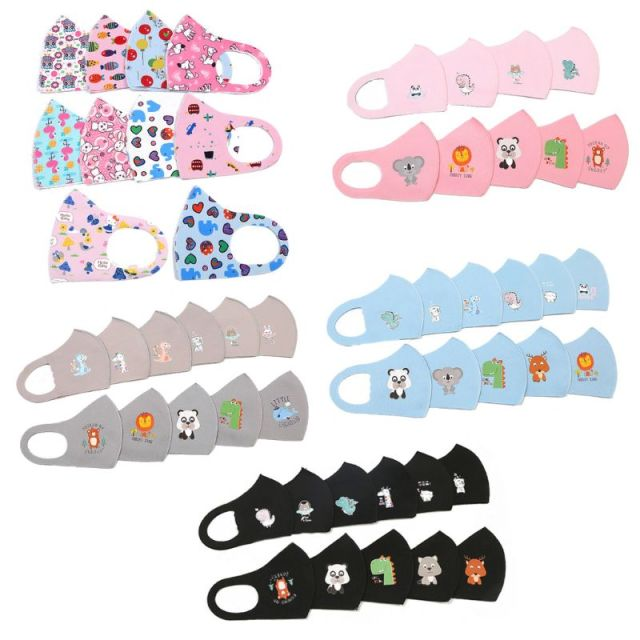 10Pcs PM2.5 Kid Reusable Anti Flu Face Mask Breathable Washable Sponge Dustproof Mouth Mask Random Pattern for Children