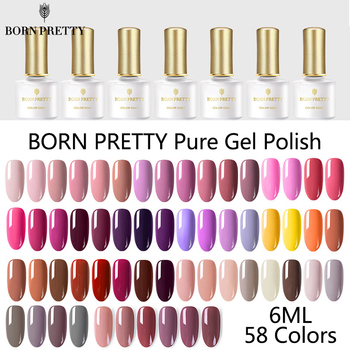 BORN PRETTY 58 Colors Gel Nail Polish Pure Nail Color Soak Off UV LED Gel Varnish SemiPermanent Nail Gel Polish  Nail Art Design 30pcs pure colors uv gel soak off led gel lacquer uv nail set gel nail polish set