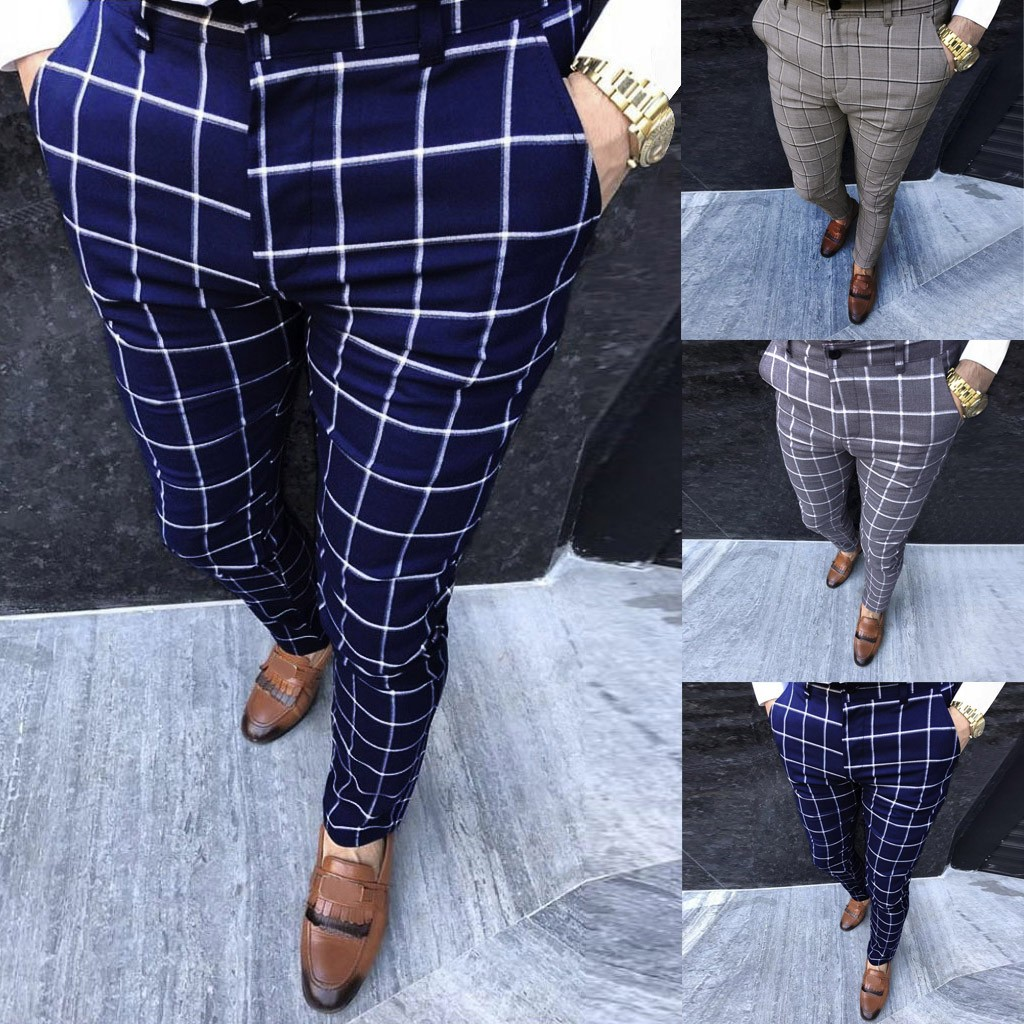 Fashion Men Casual Business Slim Fit Plaid Print Zipper Long Pants Trousers Plus Size M-3XL Pantalones Hombre Joggers Sweatpants