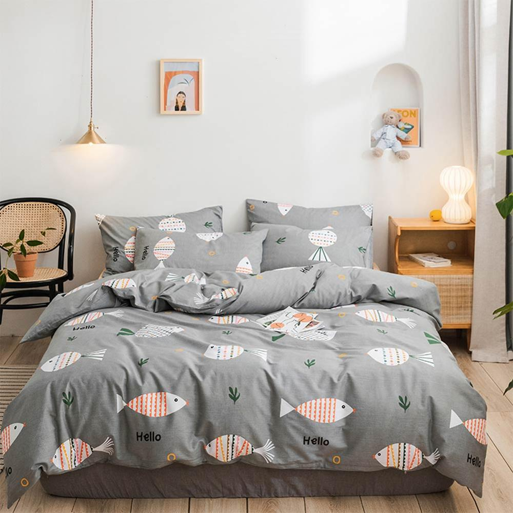 2019 Cartoon Fishes Grey Bed Cover Duvet Cover Set Cotton Bedding Set Bedlinens Twin Queen King Flat Sheet Fitted Sheet