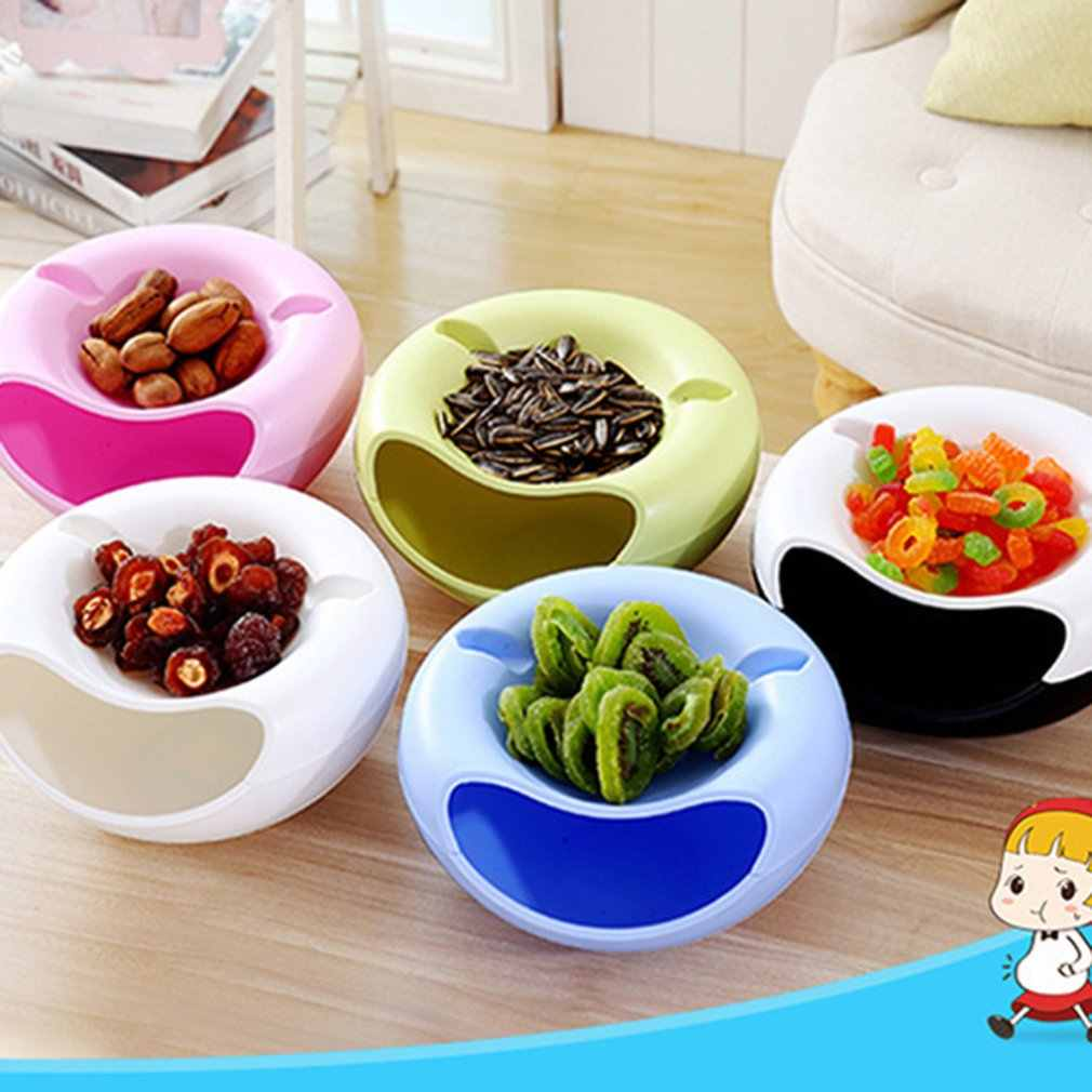 Double Layer Melon Seed Dish Sitting Room Plastic Dry Fruit Basket Lazy Person Takes Melon Seed Ware Dry Fruit Box
