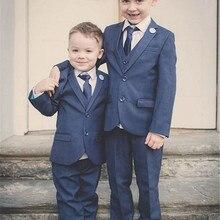 Suits-Set Pants Bearer-Suit Wedding-Tuxedos Custom Formal Lapel Jacket Vest Ring Notched