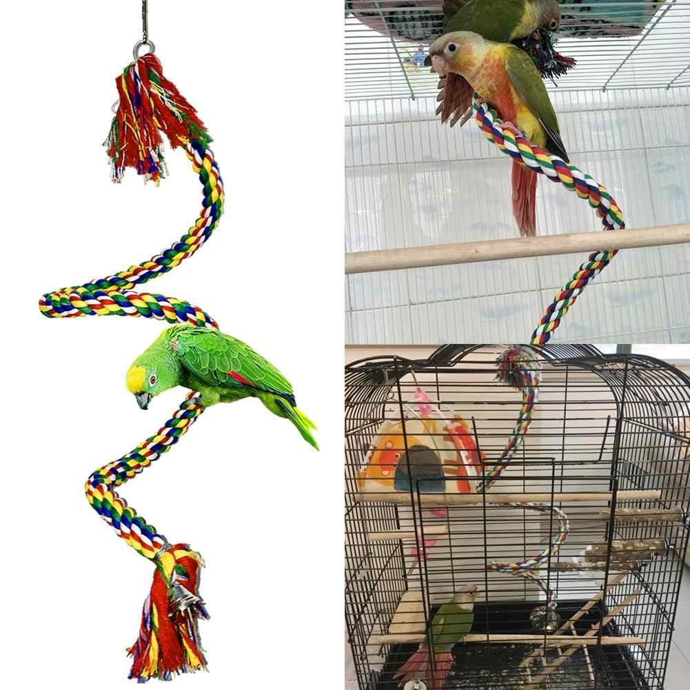 Pet Bird Parrot Elastic Cotton Rope Hanging Climbing Swing Stand Perch Chew Toy