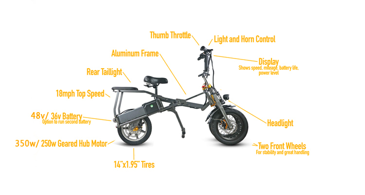 JX003 3 Wheel Electric Scooter E Bike Bicycle foldable High Speed Electric Tricycle with 2 pcs battery 350W Powerful  for Adult 7