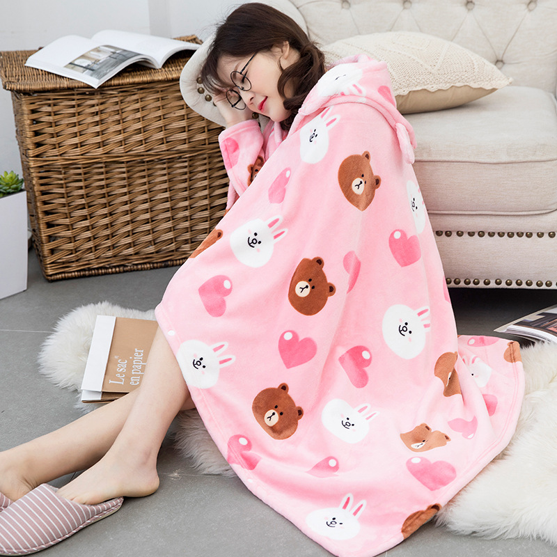 Winter Thick Comfy Hooded Cartoon Blanket Sweatshirt Soft Warm Throw TV Hoodie Blankets Fleece Blanket Adult for Sofa Beds Kids