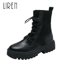 Liren 2019 Winter Women Keep Warm Ankle Lace-up Boots Round Toe Flat Heels Casual Fashion Comfortable