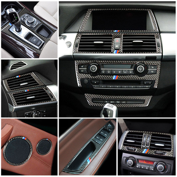 Accessories For BMW X5 X6 E70 E71 Carbon Fiber Car Inner Door Audio Speaker Gearshift Panel Door Armrest Cover Trim Car Sticker image