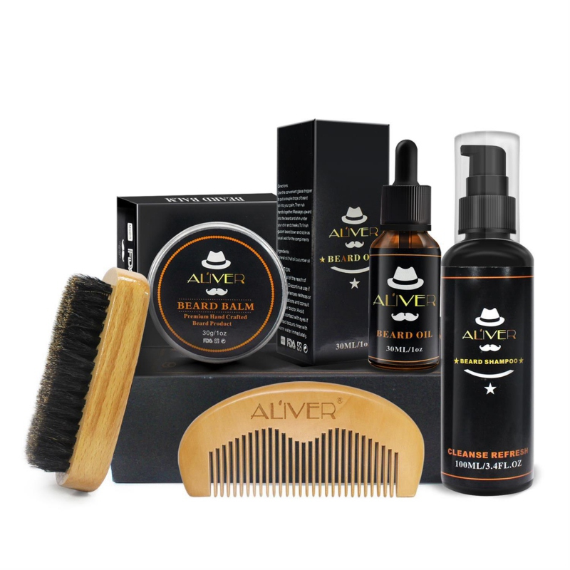 1 Set Men Beard Kit Styling Tool Beard Bib Aprons Balm Beard Oil Comb Moisturizing Wax Styling Scissors Beard Care Set