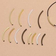 100 pces metal bronze quadrado curva tubo grânulos diy acessórios para fazer jóias, 30x2mm 40x2mm 50x2mm