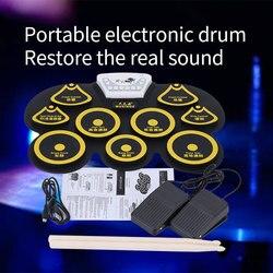 Kit de batería USB mini de silicona, almohadilla de pedal de bajo electrónico para niños, juego de máquina de juguete con baquetas, instrumento musical de percusión