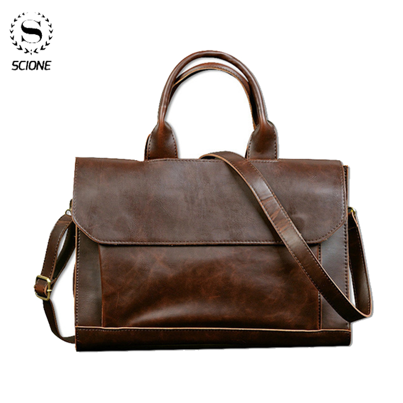 Scione Men's Leather Laptop Bag Business Men's Briefcase Bag Laptop Messeng Bag Man Leather Office Large Capacity Handbag