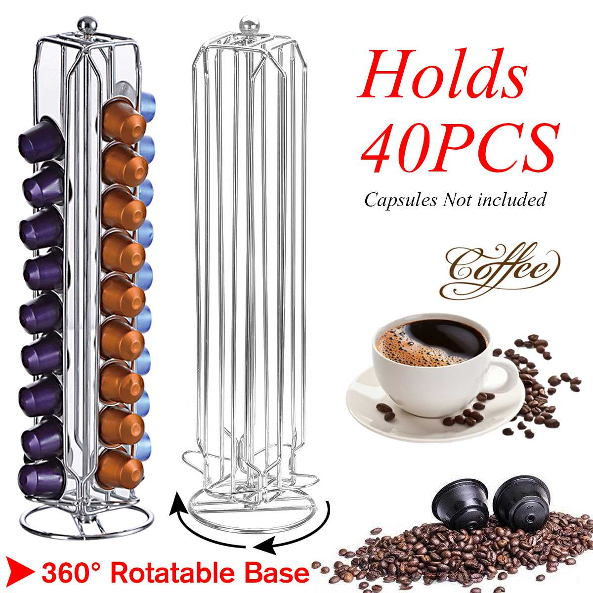 NEW Metal Coffee Pods Holder Iron Chrome Plating Stand Coffee Can Hold 40 PCS Coffee Capsule Storage Coffee Stand For Nespresso
