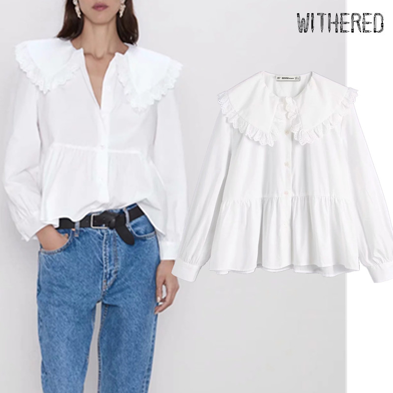 Withered autumn england peter pan collar vintage Lace shirt blusas mujer de moda 2019 blouse womens tops and blouses plus size