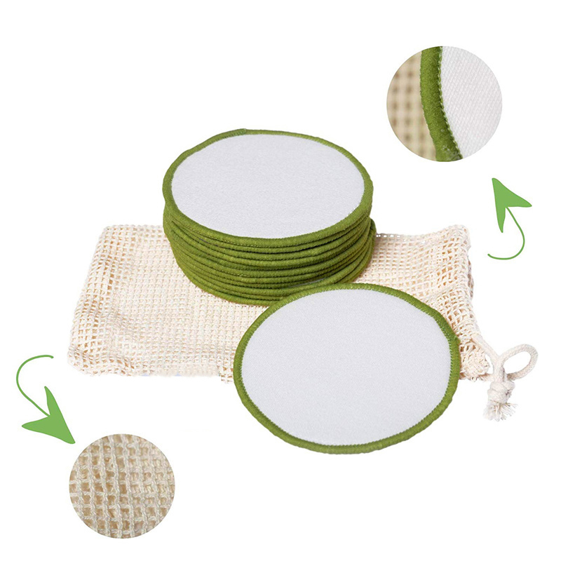 Makeup Remover Pads 16pcs Washable Organic Cotton Rounds Toner Pads Facial Soft Cleansing Wipes with Laundry Bag 1