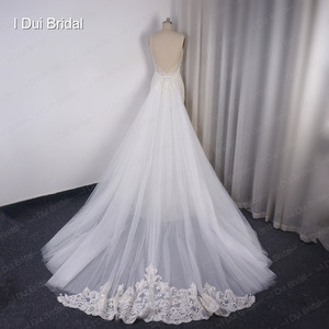 Image 2 - Detachable Train Sheath Wedding Dress High Quality Lace Low Back Deep V Neckline