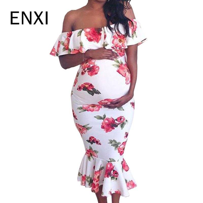 ENXI Floral Print Mermaid Pregnancy Dress Shoulderless Maternity Dresses Sheath Pregnant Women Midi Dress Elegant