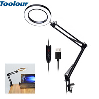 Toolour Magnifying Glass USB 5X able Clamp Magnifier LED Lights 3 Colors Flexible Desk Lamp for Reading Working Lighting Rework
