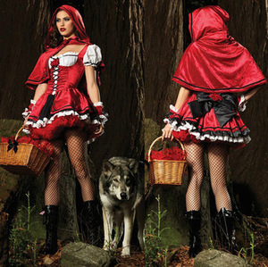 cheap Halloween Little Red Riding Hood Fantasy Costume Hen Party Fairy Tale Cosplay Robe Fancy Dress For Adult Women Size S-2vXL