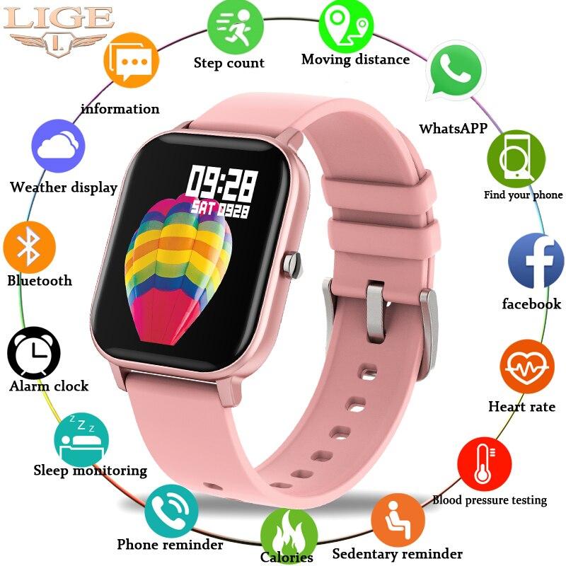 Lige 2020 relógio inteligente mulher esportes fitness rastreador ipx7 à prova dwaterproof água led tela de toque completa adequado para android ios smartwatch