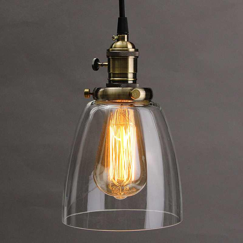 Hot E27 Retro Vintage Chandelier Lamp Shade Industrial Lamp Cover 2M Cord Coffee Bar Glass Cover Ceiling Fixture
