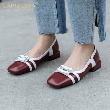 Lapolaka 2020 New Arrivals Genuine Leather Square Low Heels Slip On Comfortable Shoes Woman Pumps Sweet Butterfly Casual Pumps