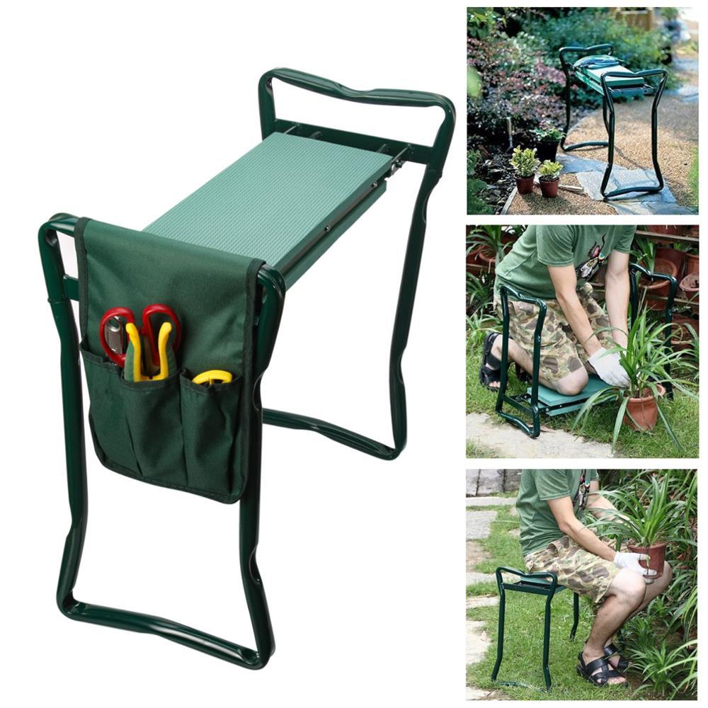 Garden Chair Kneeler-Seat Folding with EVA Storage Big-Bearing 150KG Stainless-Steel