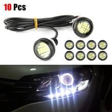 Lampe œil d'aigle LED bleue 12V, 15W, 10 pièces, lumière de jour DRL, lampe de secours pour voiture, 3SMD/ampoule IP65 50000H, métal Super lumineux