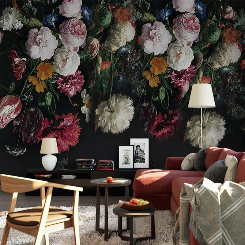 Настенные обои в европейском стиле ретро с ручной росписью цветов для гостиной