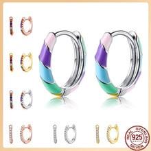 Silverhoo 925 brincos de prata para as mulheres em forma redonda arco-íris hoop brincos jóias finas presentes do dia dos namorados 2021 tendência venda