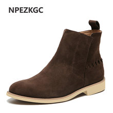 New Men Chelsea Boots Ankle Boots Fashion Men's Brand Cow suede Leather Quality Slip Ons Motorcycle Men's Boots Big Size 47(China)