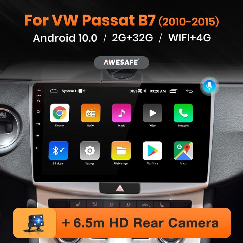 Автомагнитола AWESAFE PX9 для Volkswagen Passat B7 2010-2016, мультимедийный видеоплеер на Android 10, 2 Гб ОЗУ, 32 Гб ПЗУ, с GPS, типоразмер 2 din