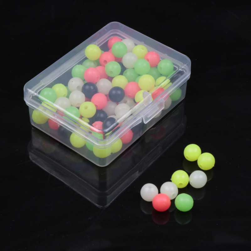 100pcs Soft Fishing Beads Stopper 6mm/8mm Luminous Round Fishing Space Beans Stops Soft Rig Lure
