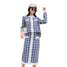 Plaid Two Piece Set For Women O Neck Long Sleeve Sweater High Waist Skirts Slim Female Suit 2019 Autumn Fashion New(China)