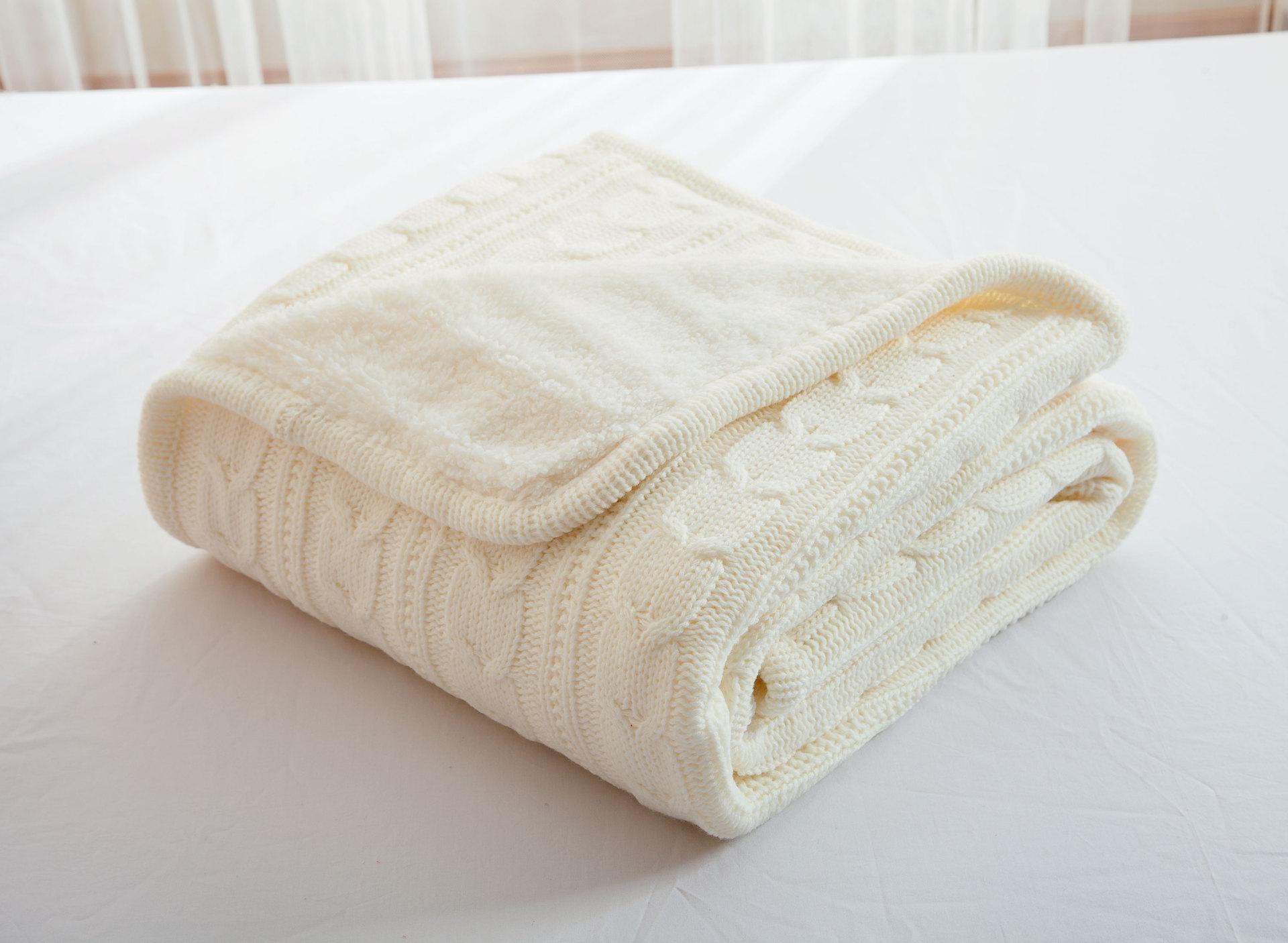 100% хлопок, высокое качество, овечье вельветовое одеяло, зимнее теплое вязаное шерстяное одеяло, диван/покрывало для кровати, одеяло, вязаное... - 5
