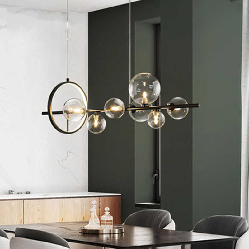 Современные светодиодный подвесные светильники со стеклянными шариками, освещение для столовой, Скандинавская Подвесная лампа, украшение для дома, комнатные подвесные светильники