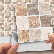 18pcs/Set Self Adhesive Tile Sticker Mosaic Kitchen Back splash Bathroom Wall Stickers Decor Waterproof Peel&Stick PVC